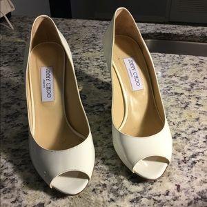 Jimmy Choo Patent Peep Toe Wedge with Gold Heel |7